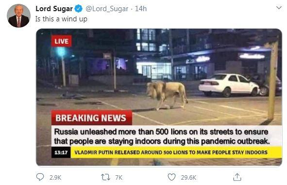 Alan Sugar Russian lion tweet