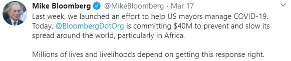 Mike Bloomberg tweet