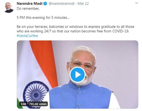 PM Modi tweet on clapping