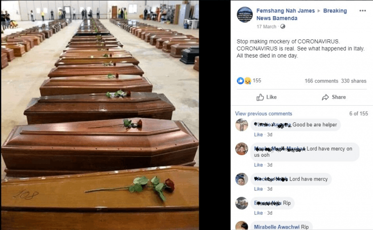 This picture showing many coffins kept in a hall is going viral.