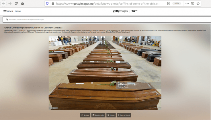 This image shows coffins of the African migrants killed in a shipwreck off the Italian coast
