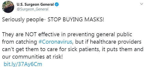 Corona face masks tweet
