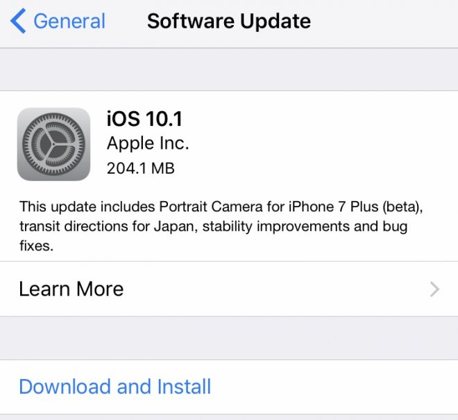 iOS 10.1 bug-fix update released