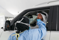 UAE's drive-thru coronavirus testing facility,
