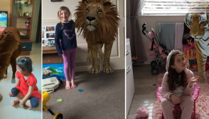 Kids pose with wild animals using Google 3D Animals feature