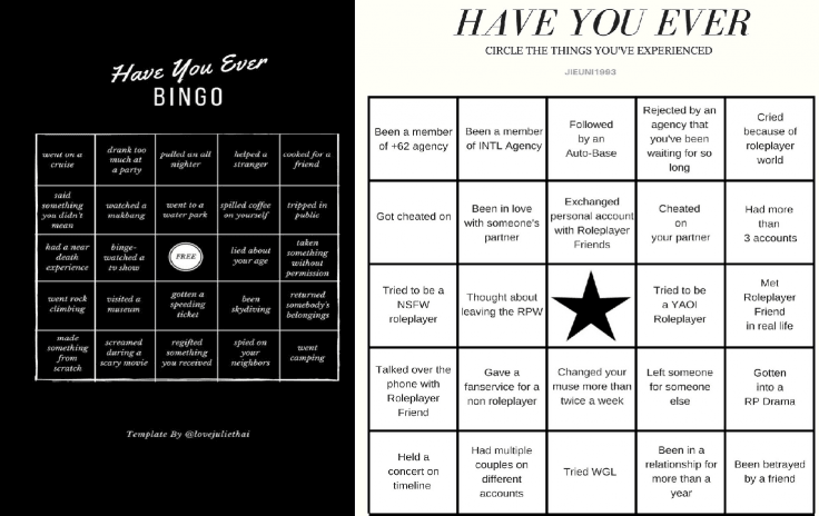 Have you ever Bingo Challenge templates