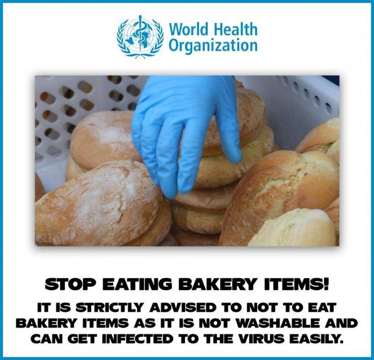Fake poster asking people to stop consuming bakery products published with the logo of World Health Organisation (WHO)