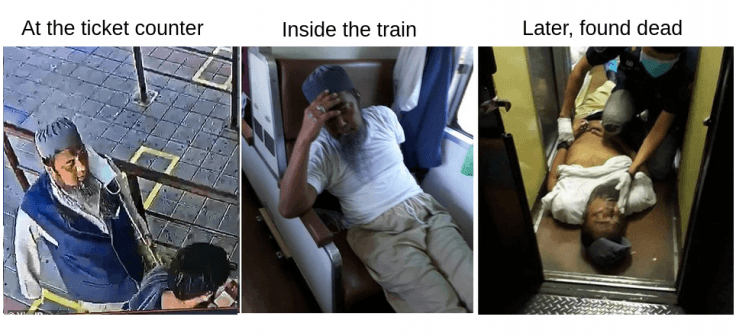 A man, who was spotted spitting on another person, was later found dead inside a train in Thailand.