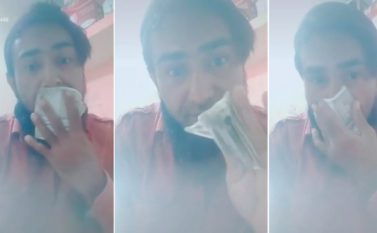 Video of Indian man licking and wiping currency notes with his nose goes viral; Nashik police arrest him
