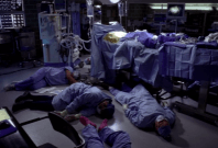 This image taken from the popular American show Grey's Anatomy is being shared by many netizens claiming to be the photo of medics, who have become victims of COVID-19 in Italy.