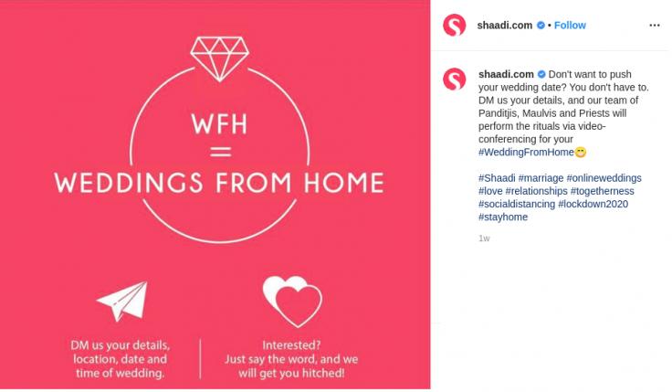 Shaadi.com has started the initiative 'Weddings From Home' amid the Coronavirus lockdown