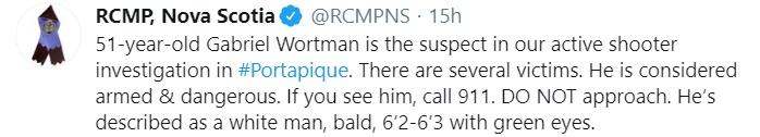 RCMP, Nova Scotia Tweet
