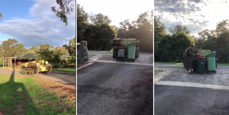 A person uses war tank to dump garbage in Australia during lockdown