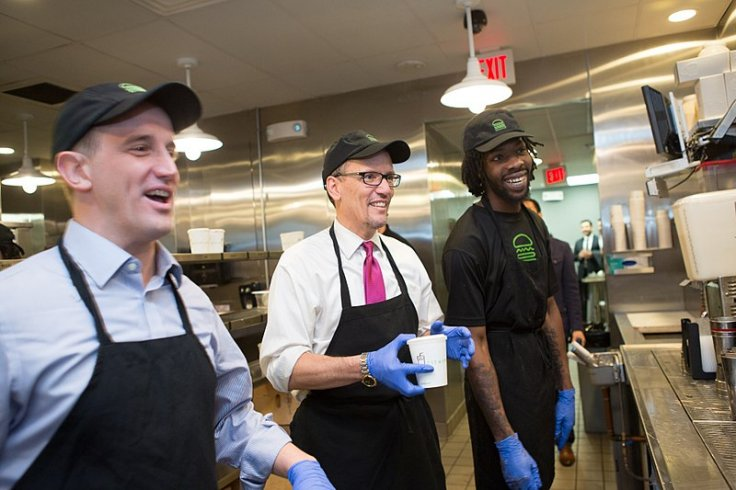 Secretary of Labor Thomas Perez tours the Shake Shack Restaurant with CEO Randy Garutti.