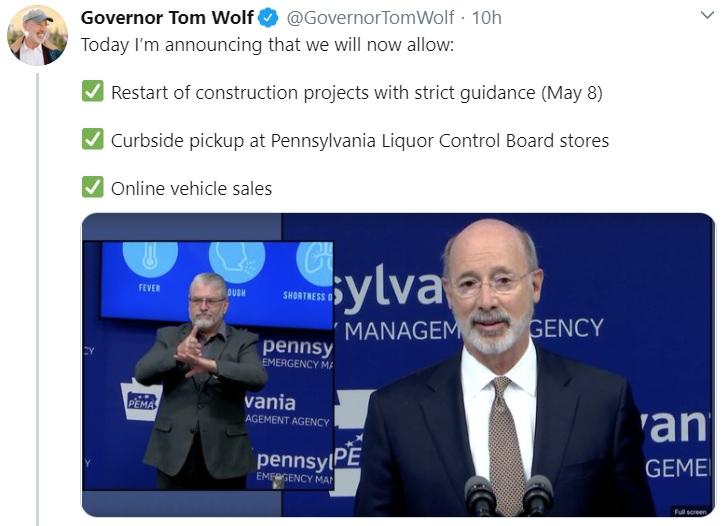 Tom Wolf tweet