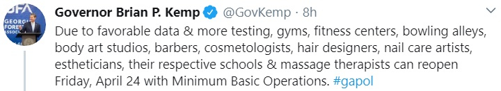 Georgia governor Brian Kemp tweet
