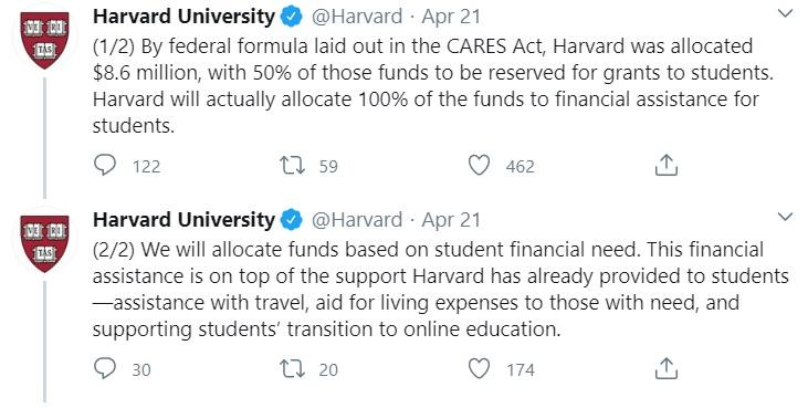 Harvard University tweet
