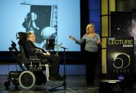Lucy with Stephen Hawking