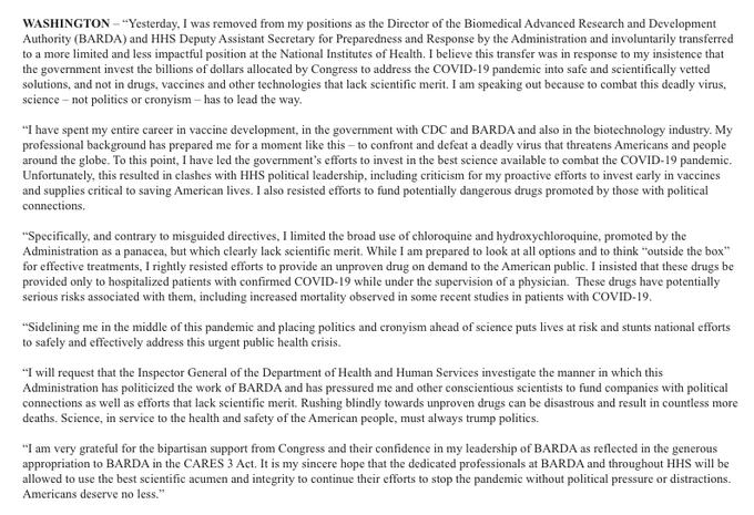 Dr. Rick Bright's statement