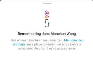 instagram account memorialisation
