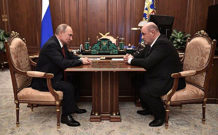 Mikhail Mishustin and Vladimir Putin