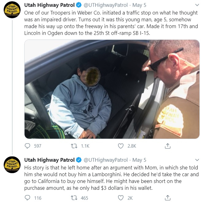 Utah Patrol Highway tweet