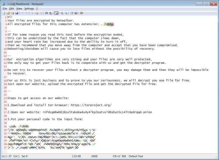 Netwalker ransomware note