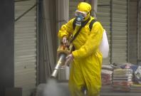 Disinfectants sprayed