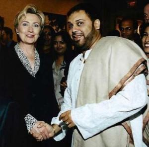Hillary Clinton with musician Shubhashish Mukherjee