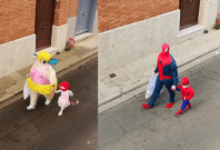 This Father-Daughter duo dresses up every day in popular costumes to dump garbage