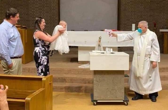 Sprinkling holy water using toy water gun