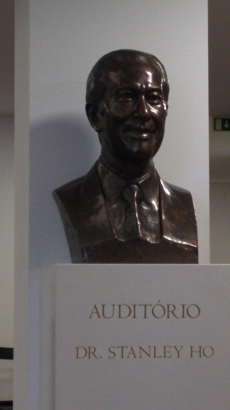 Stanley Ho, the Macau casino tribute. A bust to him at the Fundacao Oriente, Lisbon