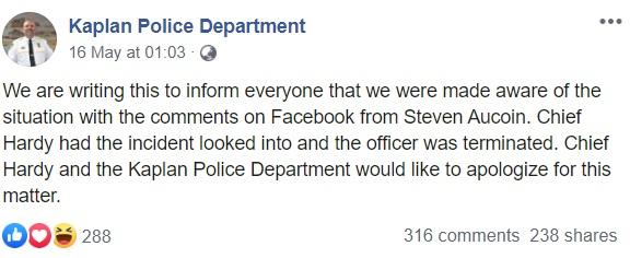 Kaplan Police Department statement