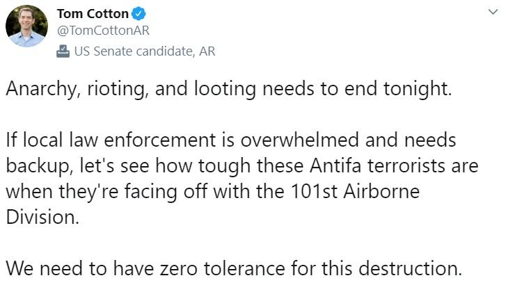 Tom Cotton tweet