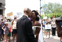 Couple celebrates wedding at George Floyd protest