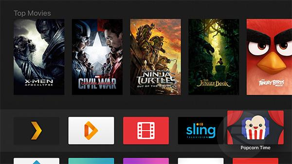 Popcorn Time app installed on iOS home screen