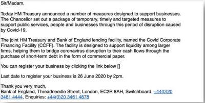 Phishing email for UK