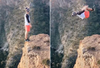 Backflip on the edge of a cliff