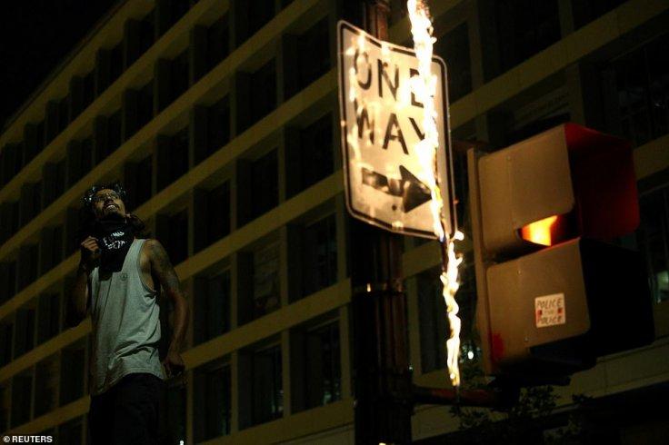 Burning signboard in US