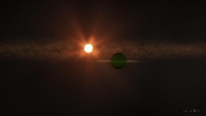 Artist illustration of AU Mic b seen orbiting its parent star, AU Mic