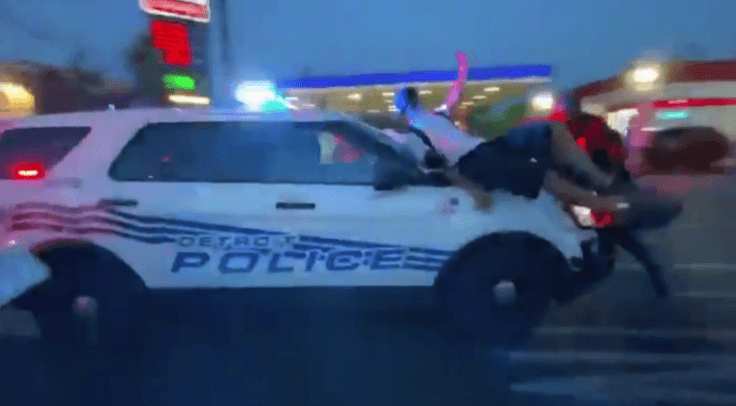 Detroit Police Plows Through Crowd