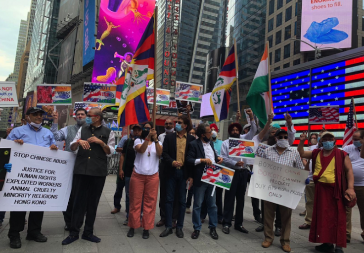 Boycott China protests at Times Square