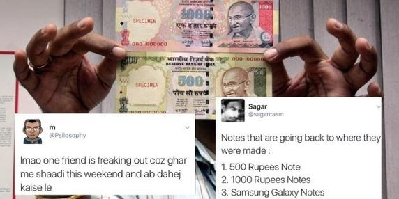 Twitter Jokes on banned Indian notes