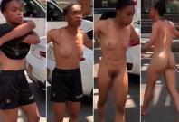 woman strips naked in Brooklyn
