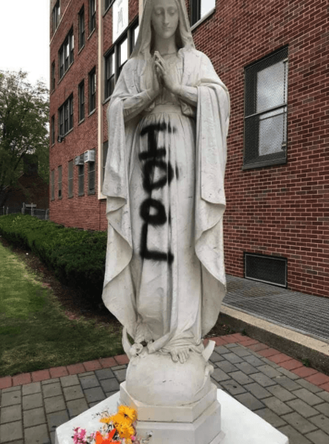 Virgin Mary statue vandalized