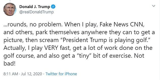 Trump golf tweet