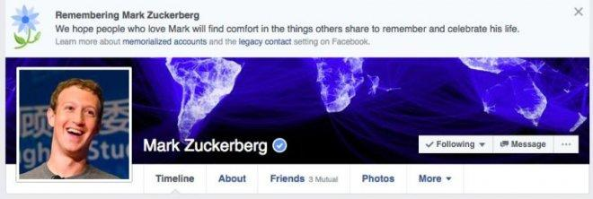 Mark Zuckerberg's memorial banner on Facebook