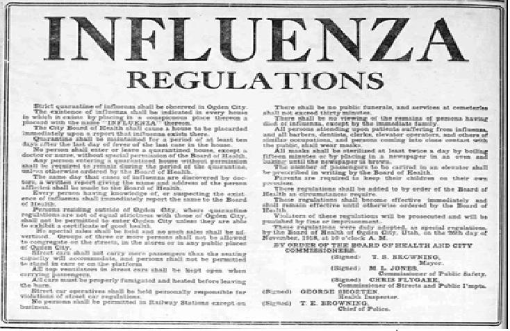 Regulations over 1918 PANDEMIC