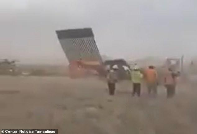 US Mexico border wall collapse