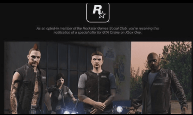 GTA Online: Rockstar Social Club notification